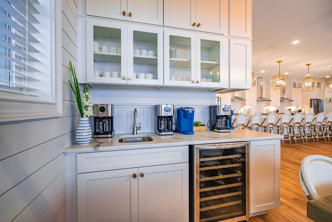 Coastal Kitchen Design with Full Coffee Bar