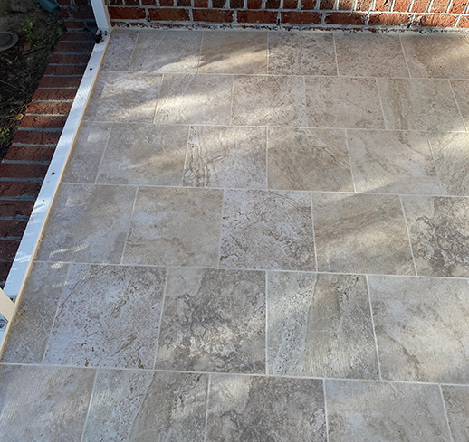 Porcelain Tile Screened Back Porch Project in Bolivia