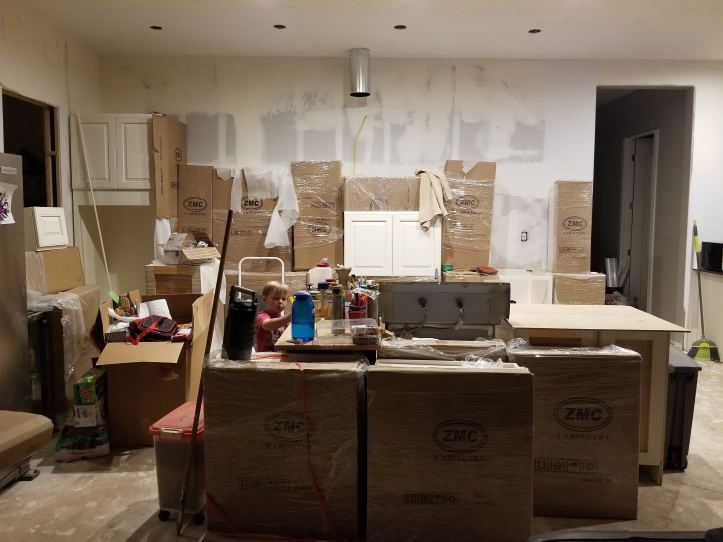 Full Kitchen Remodel with DIY Painted Range Hood  Cabinets going in