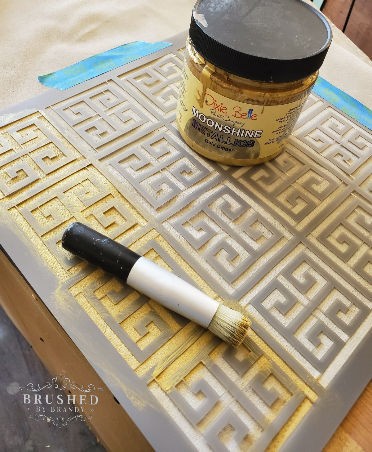 Metallics Stencil How to Paint Fabrics for Custom Holiday Table Decor