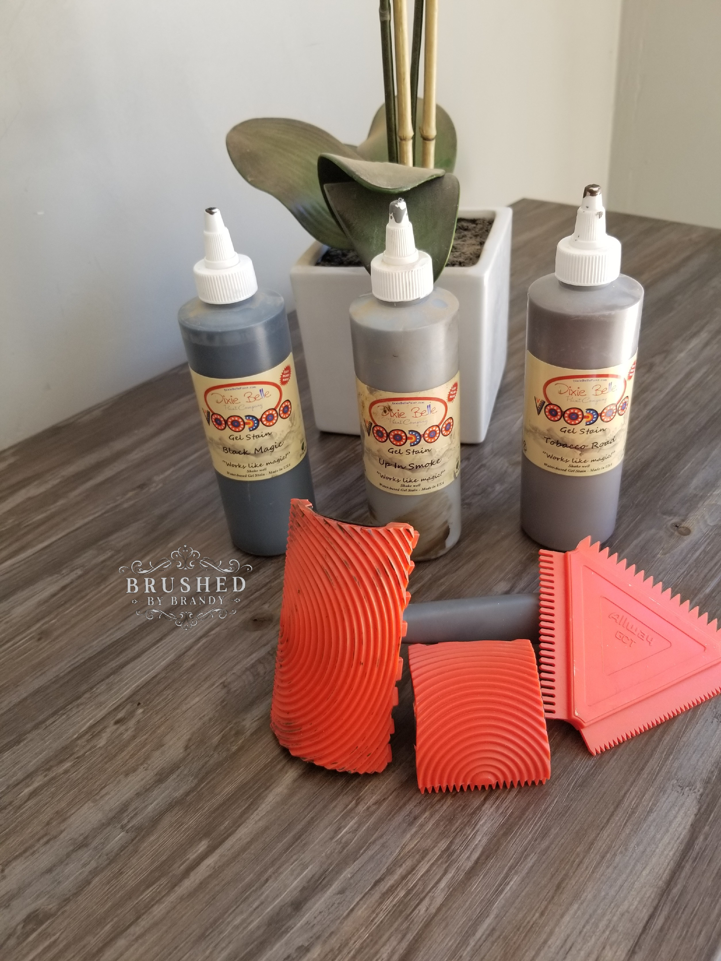 How to Create a Faux Wood Finish Voodoo Gel Stain and Wood Grain Tool r Brushed by Brandy