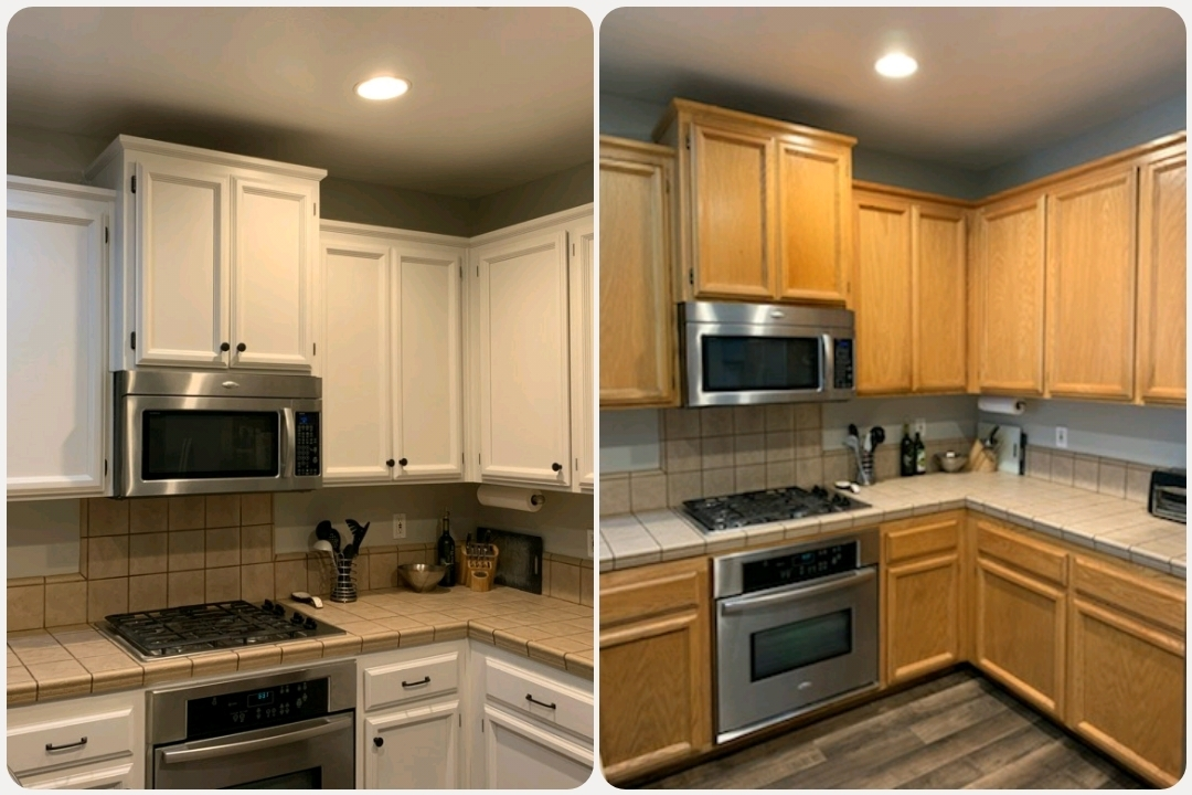 My First Kitchen Cabinet Chalk Paint Makeover Brushed by Brandy before and after