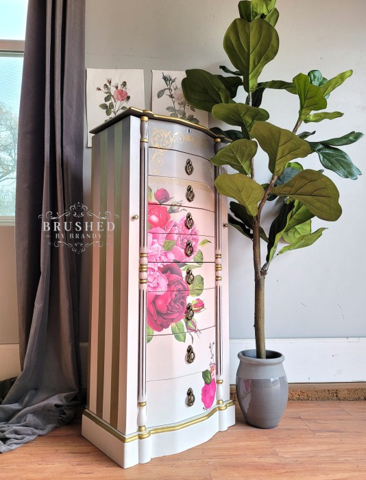 Striped sides Blush and Gray Jewelry Armoire Makeover