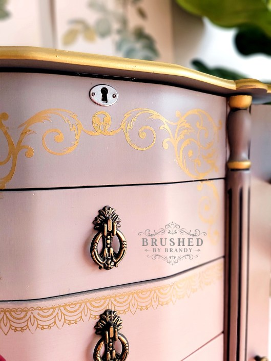 Gold Details on Blush and Gray Jewelry Armoire Makeover