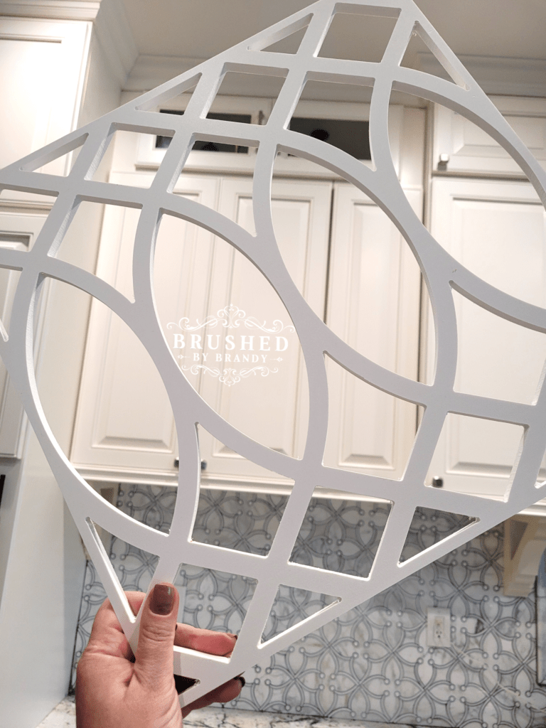 PVC Fretwork Panels for a Glass Kitchen Cabinet Upgrade Brushed by Brandy