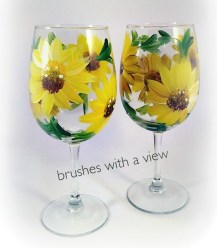 Hand painted floral, yellow flowers