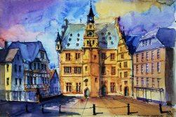 127_2016 Watercolor, Marabu Mixed Media 21,0 x 14,8 cm / 8.3 x 5.8 in - ´Marburg-Rathaus`