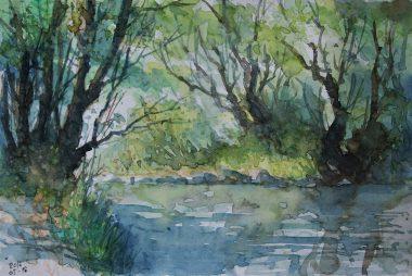 131_2016 Watercolor, Marabu Mixed Media 21,0 x 14,8 cm / 8.3 x 5.8 in - `Marburg - Südstadt-Lahn´