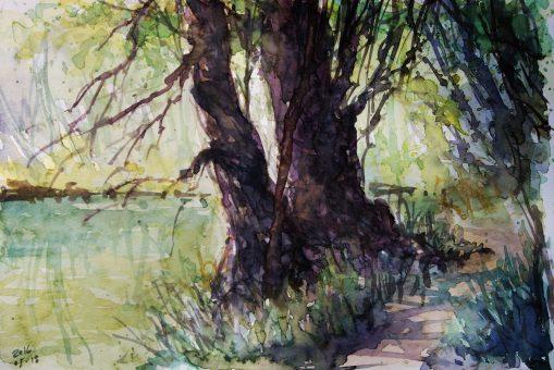 132_2016 Watercolor, Marabu Mixed Media 21,0 x 14,8 cm / 8.3 x 5.8 in - `Marburg - Südstadt-Lahn II´