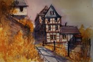 139_2016 Watercolor, Marabu Mixed Media 21,0 x 14,8 cm / 8.3 x 5.8 in - `Marburg – In der Kugelgasse´