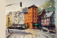 138_2016 Watercolor, Marabu Mixed Media 21,0 x 14,8 cm / 8.3 x 5.8 in - `Marburg – Ketzerbach/ Lokomotive´