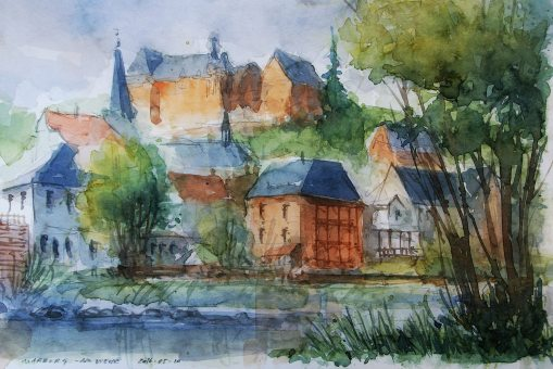 ´My favourite place at the Lahn river´- 120_2016 Watercolor, Marabu Mixed Media 21,0 x 14,8 cm / 8.3 x 5.8 in