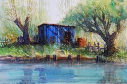 ´Blue cabin at the river bank´ - 121_2016 Watercolor, Marabu Mixed Media 21,0 x 14,8 cm / 8.3 x 5.8 in