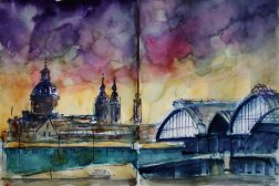 My 3c/31 #worldwatercolormonth // 144_2016 Watercolor-Sketches /Daler-Rowney Graduate Sketchbook, 2 x 21,0 x 14,9 cm / 2x 8.3 x 5.8 in ´Plein Air Amsterdam - Centraal Station seen from IJplein`