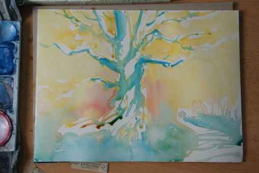 Step-by-step: Painting a colorful tree 01