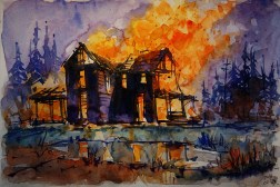 """My 30-1/31 #worldwatercolormonth // 196_2016 Watercolor-Sketches /Daler-Rowney Graduate Sketchbook, 21,0 x 14,9 cm / 8.3 x 5.8 in // """"Burning House I ´"""