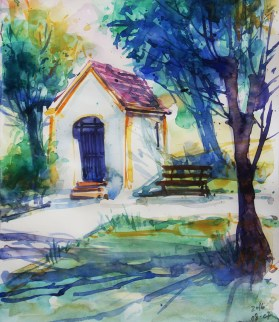 211_2016 Watercolor-Sketches /Daler-Rowney Graduate Sketchbook, 21,0 x 14,9 cm / 8.3 x 5.8 in - Quick morning practice after a photo by Bibi Hartl.