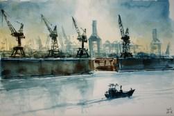 232_2016 Watercolor-Sketches / Paper: Marabu Mixed Media 21,0 x 14,8 cm / 8.3 x 5.8 in / Lukas Aquarell 1862 / ´Hamburg - Blohm & Voss´
