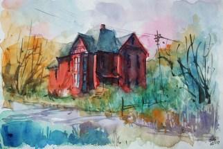235_2016 Watercolor-Sketches /Daler-Rowney Graduate Sketchbook, 21,0 x 14,9 cm / 8.3 x 5.8 in / Lukas Aquarell 1862 / ´Red house´