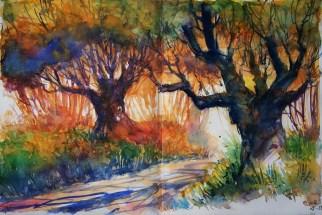 240_2016 Watercolor-Sketches /Daler-Rowney Graduate Sketchbook, 2x 21,0 x 29,7 cm / 8.3 x 11.7 in / Lukas Aquarell 1862 / `Late summer morning´