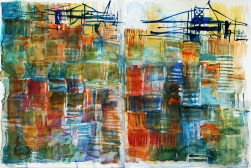 CW2016_abstract_watercolor014 / Daler-Rowney Graduate Sketchbook, 2x 21,0 x 21,0 cm / 8.3 x 8.3 in / Lukas Aquarell 1862 / ` Container terminal - Hamburg´