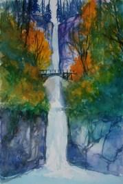 263_2016 Watercolor-Sketches /Daler-Rowney Graduate Sketchbook, 21,0 x 14,9 cm / 8.3 x 5.8 in / Lukas Aquarell 1862 Lukas Farben / Multnomah Falls - Oregon