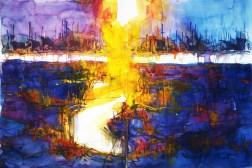CW2016_abstract_watercolor049 / `Fire Garden I´ / Daler-Rowney Graduate Sketchbook, 2x 21,0 x 29,7 cm / 8.3 x 11.7 in / Lukas Aquarell 1862
