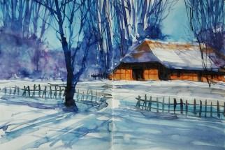 415_2016 Watercolor-Sketches /Daler-Rowney Graduate Sketchbook, 2x 21,0 x 14,9 cm / 8.3 x 5.8 in / Lukas Aquarell 1862