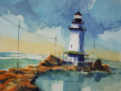 156_2017 Watercolor / Hahnemühle Anniversary Edition ca.48 x 36 cm / 18.9 x 14.2 in / Lukas Aquarell 1862 `Saybrook Breakwater Light´