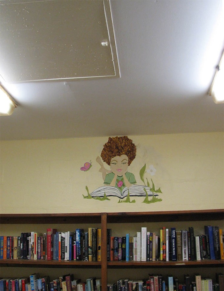 Mural BWTL painted inside of MCCF Female Law Library. Female inmates helped draw and paint this mural.