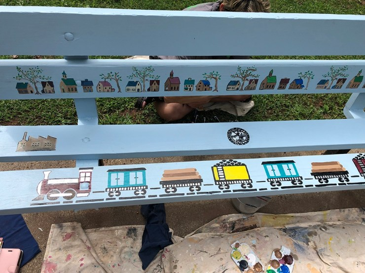 Close up detail of welcome bench