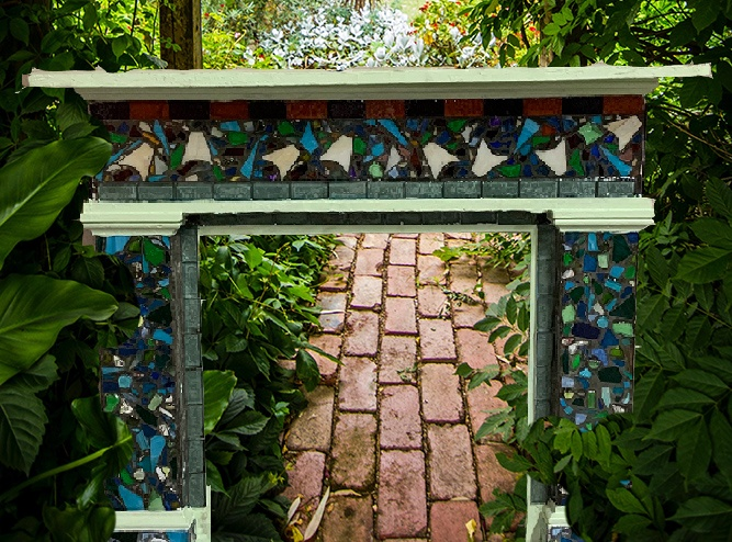 upcycled old mantle piece in garden path, decorative, cool tones
