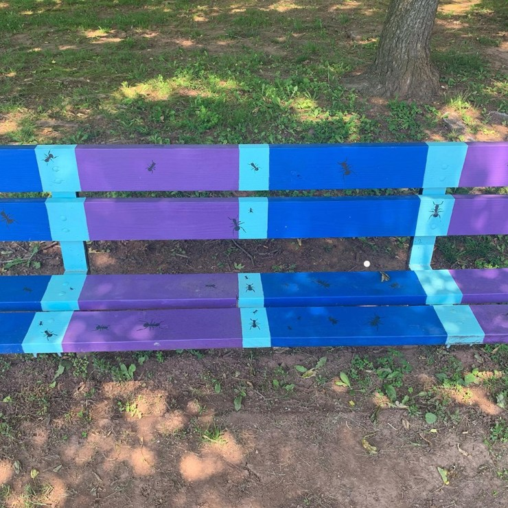 Cool toned, friendly bug bench