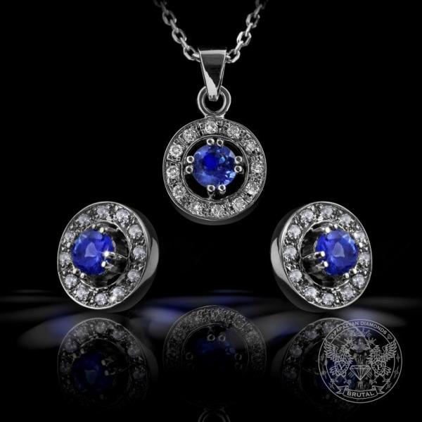 Комплект обeци и медальон с диаманти и танзанит