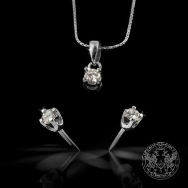 Комплект медальон и обеци с диаманти