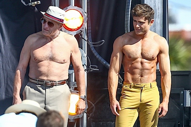 "Actors Zac Efron and Robert De Niro take off their shirts for a ""Flex Off"" contest for a scene in their new movie ""Dirty Grandpa"""