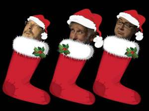 The boys of The Goon Show LIVE!, in stockings