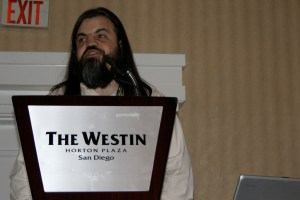 I speak on the Horizon Report.  Photo by Cogdog.