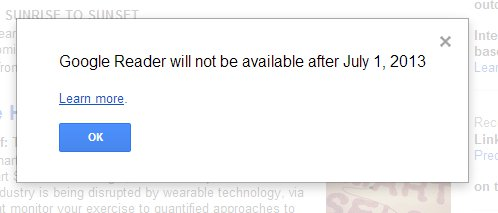 Google's ending of Google Reader announcement.
