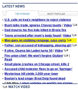 more CNN headlines of fear, this time from 2007