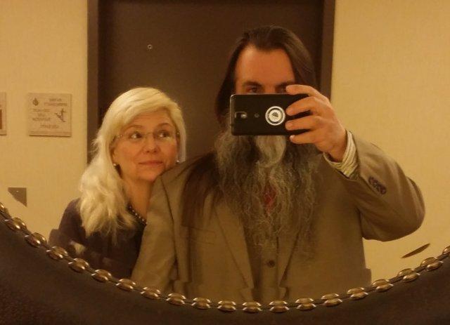Ceredwyn and Bryan in mirror