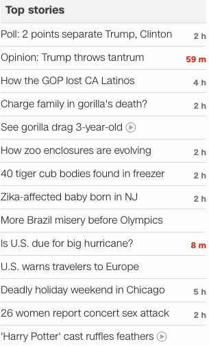 CNN headlines 2016 June 1
