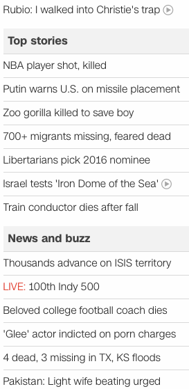 CNN headlines 2016 May 29