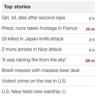 CNN headlines 2016 July 26
