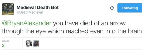 Medieval death bot kills me
