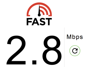 connection speed via Fast.com