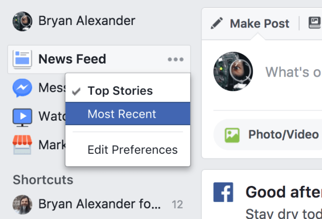 Facebook settings: top stories or most recent?