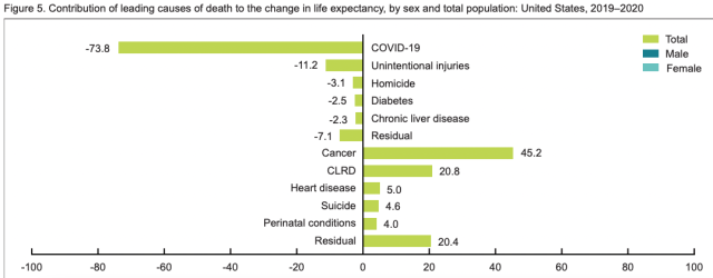 CDC life expectancy decline 2021 July