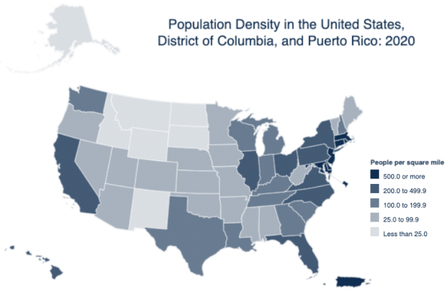 Census US state population density 2020