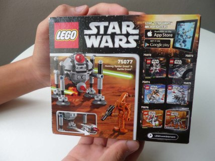 Lego Star Wars Microfighters Homing Spider Droid box back cover